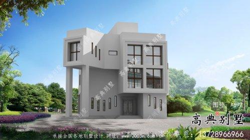 极简现代风格三层别墅外观设计图