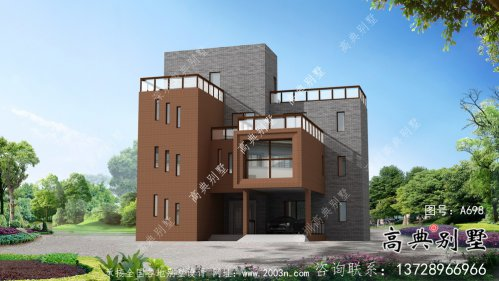 现代风格四层别墅外观效果图大全