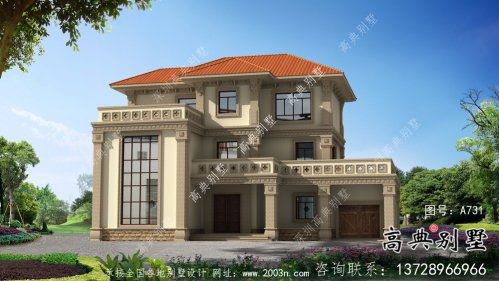 三层简欧农村自建别墅设计效果图纸