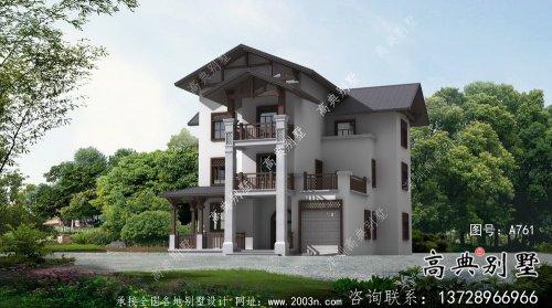 东南亚风格三层别墅设计实际效果工程图纸