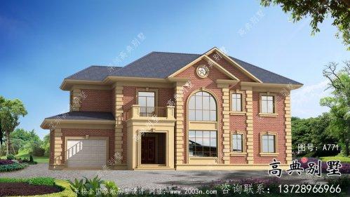二层法式带车库欧式别墅设计效果图