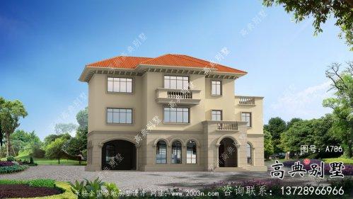 低调三层欧式别墅外观设计效果图
