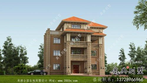 欧式风格多阳台四层农村奢华别墅设计