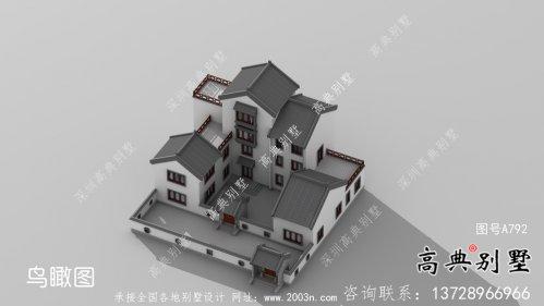 中式四层别墅外观效果图大全