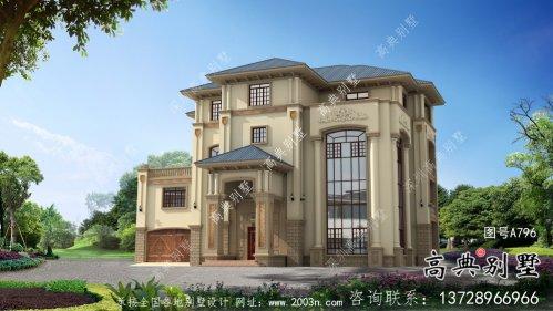 最新复式四层欧式别墅外观效果图