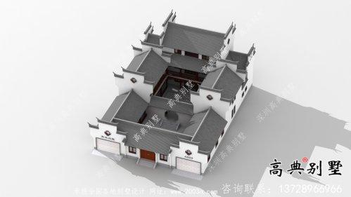 传统中式三层徽派别墅设计外观图