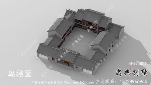 新中式四合院二层别墅设计图纸大全