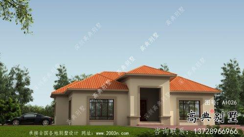 外观简易单层实用的别墅设计图,效果图