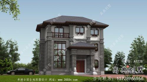 新农村三层新中式风格别墅户型设计图+效果图