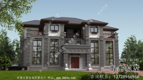 三层乡村新中式双拼住宅设计图