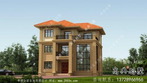 三层复式带露台的欧式风格别墅效果图