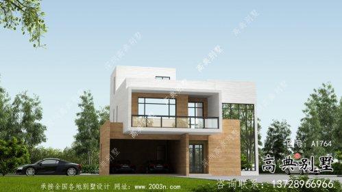二层自然现代风格小型别墅户型设计图,效果图