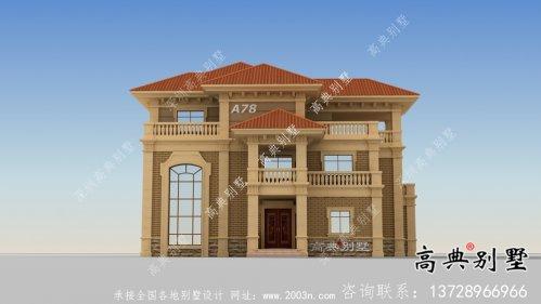 乡村欧式三层自建别墅效果建筑设计全