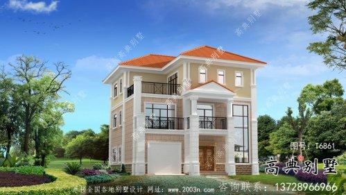 外观简易带车库欧式风格住宅建筑设计