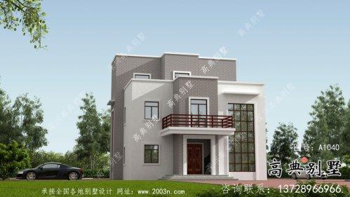 现代风格平屋顶别墅设计方案图+效果图