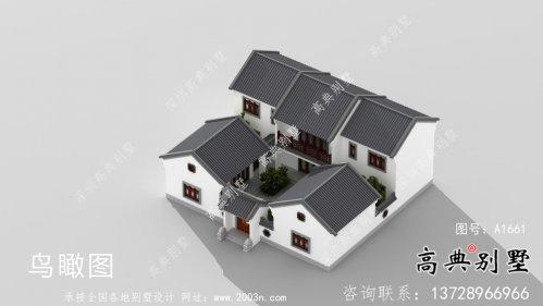 新中式二层四合院别墅设计效果图
