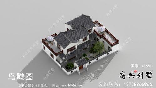 农村新中式二层庭院别墅设计图纸及效