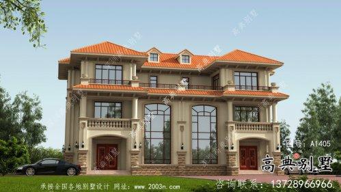 三层复式欧式风格双拼别墅设计图纸