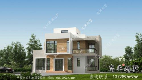 农村二层现代别墅外观设计效果图