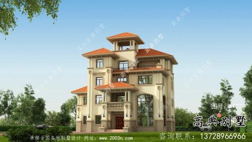 四层大户型欧式别墅设计外观效果图