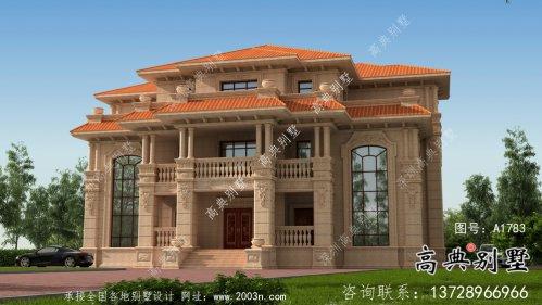 欧式石材三层双拼别墅设计图纸