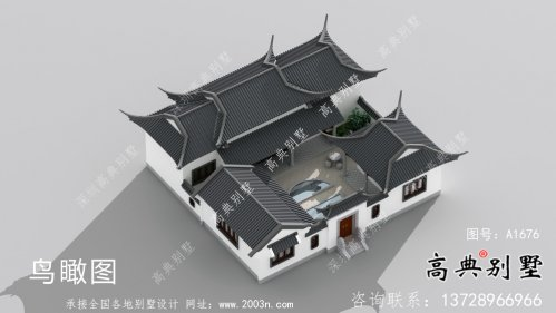 单层坡屋顶中式别墅,苏式园林别墅效