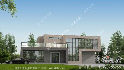二层简单时尚现代风格别墅设计方案图