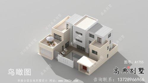 经济实用型现代风格院子别墅建筑结构图