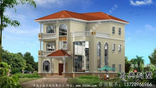 欧式风格坡屋顶三层别墅设计图纸