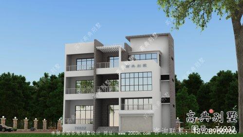 实用美观二层新型现代风格农村别墅带