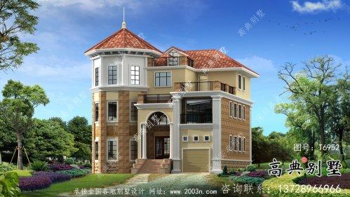 欧式风格三层带车库及室外平台别墅设计