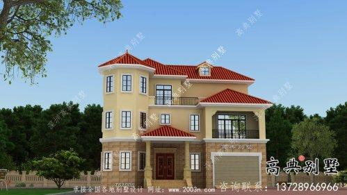 简易独特三层欧式风格别墅效果图