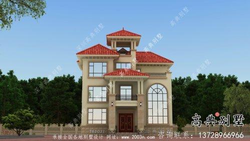 欧式风格复式坡屋顶三层别墅设计图纸