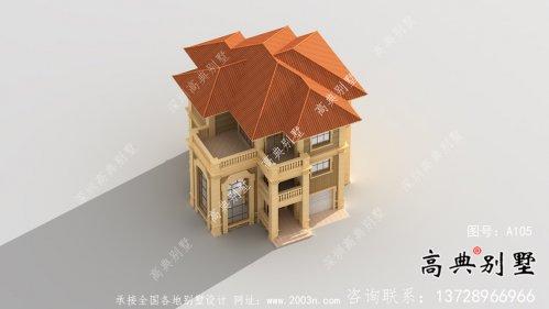 清新三层带露台新农村别墅户型图(含效果图)