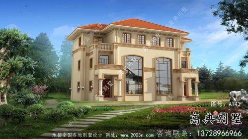 超豪华欧式三层意式别墅外观设计图