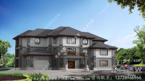 农村三层新中式别墅设计图