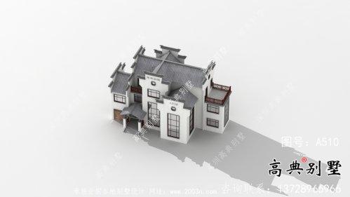 农村自建三层徽派别墅外观效果图