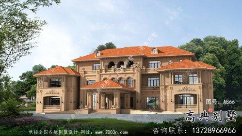 欧式三层奢华别墅设计图纸及外观效果