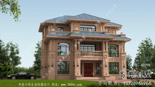 欧式独栋坡屋顶三层别墅设计图