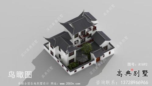 乡村三层新中式别墅带庭院设计效果图