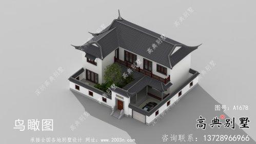 苏式园林别墅,新中式院子二层别墅方