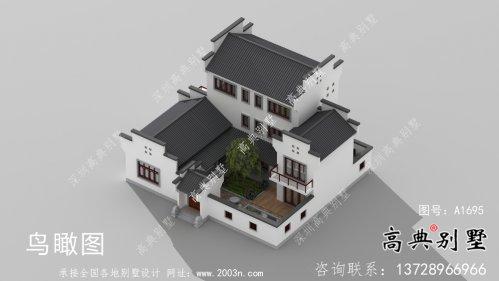 带前后院经济型农村三层徽派别墅设计