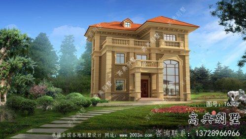 欧式古典带阳台三层别墅建筑图