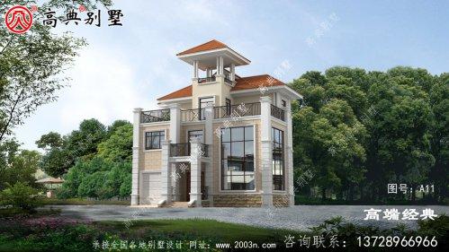 奢华欧式三层别墅设计效果图,带观景