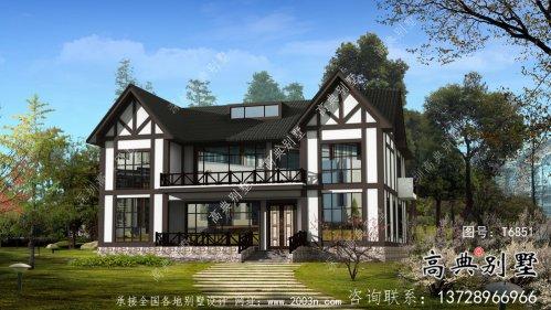 大型两层英式风格农村别墅设计图