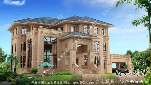 三层简约欧式意大利风格别墅设计图