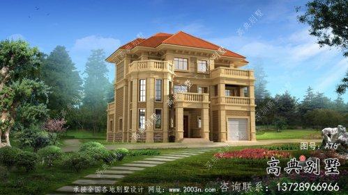 三层法式风格独栋别墅设计,带(观景台和车库)