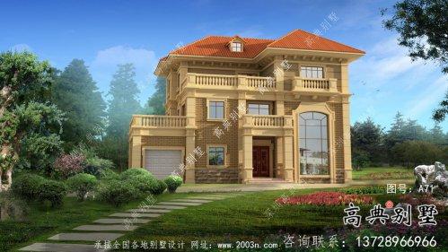 独幢古典风格经济三层别墅建筑设计图纸+设计效果图