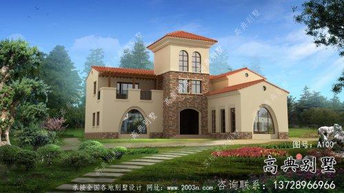 欧式乡村三层别墅设计效果图及平面设计图