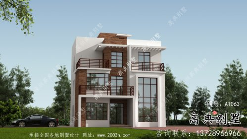 复式现代风格四层农村别墅设计图纸